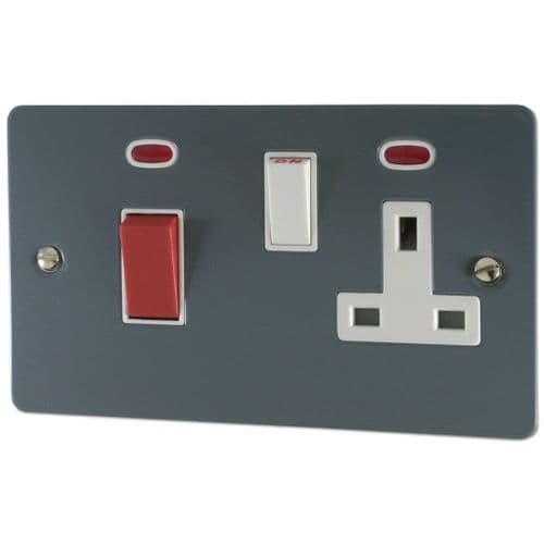 G&H FDG29W Flat Plate Dark Grey 45 Amp DP Cooker Switch & 13A Switched Socket